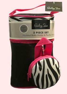 Baby Sac Black Pink Zebra Print Insulated Bottle and Pacifier Holder Bag New