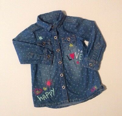 F&F Baby Girls Blue Star Denim Like Long Sleeve Button Shirt Dress 12-18 Months