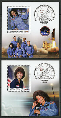 Congo 2018 MNH Sally Ride First Woman in Space 2x 1v S/S Stamps
