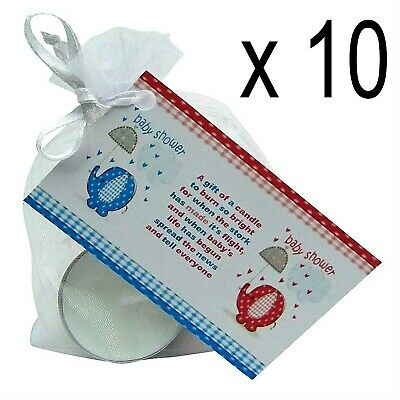 Baby Shower Scented Candle Favours 10 Pack White Girl/Boy Gift Box Gender Reveal