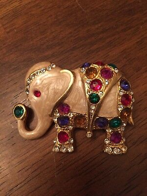 Elephant Brooch Pin Rhinestone Crystals Colorful Pearlized Body