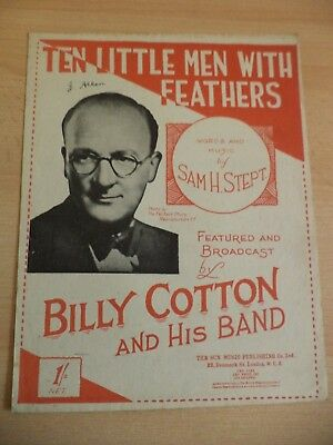 ten little men with feathers OLD VINTAGE SHEET MUSIC SONG 1940s billy cotton