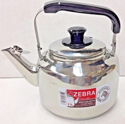 ZEBRA Teapot H/D Stainless Steel Whistling Sound Kettle 0.8L-2.5L- 4.5L 7.5L