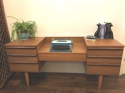 Stylish Mid Century Vintage Scandinavian Style Teak Desk / Dressing Table