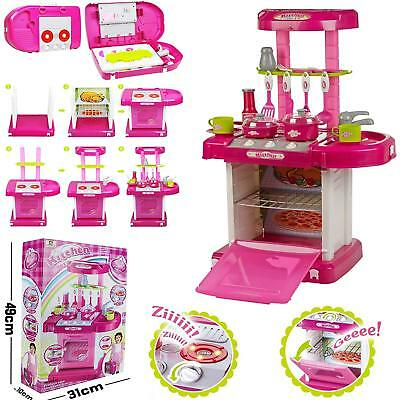 Kids Children Portable Pink Electronic Kitchen Cooking Girl Toy Cooker Play Set