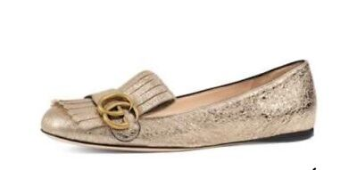 eeaae79d68e AUTHENTIC NIB GUCCI MARMONT FLAT GOLD LEATHER SIZE 8.5 -  350.00 ...