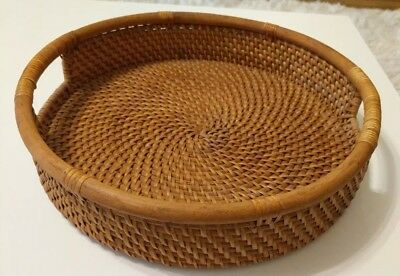 """Vintage Round Woven Basket Tray With Handles 13.5"""""""