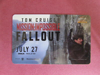 Mission Impossible Fallout, Landmark Cinema Canada Gift Card No Value
