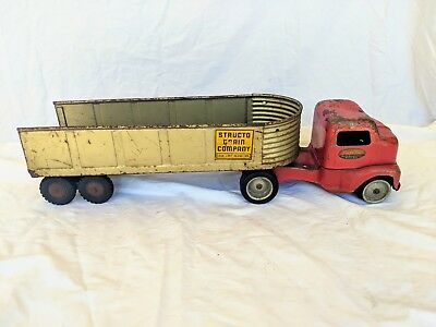 Vintage structo grain company hauler toy truck CAB & TRAILER red