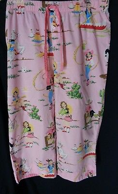 4f638a98c2 Nick Nora Size L Pink Cowgirl Cotton Capri Pajama Bottoms Drawstring Pants  CUTE