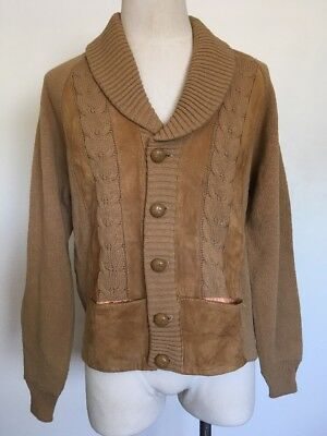 Lord James ~ Vintage Cable Knit Cardigan ~ Leather/Suede Trim ~ 70's ~ M