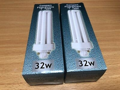 2 x 32w 4 pin GX24q-3 Crompton compact fluoresent cool white lamps (DS01)
