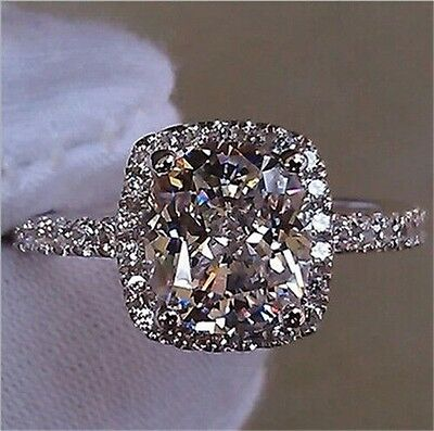 Fashion Jewelry 925 Silver Princess Cut White Sapphire Ring Wedding Bridal Gifts