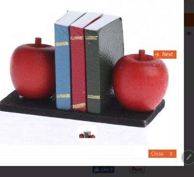 Miniature dolls house accessories Apple Book Ends With Books 12th scale Size