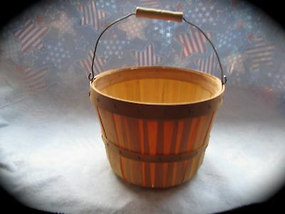 Wood / wooden pail or bucket / wire handle with wood grip