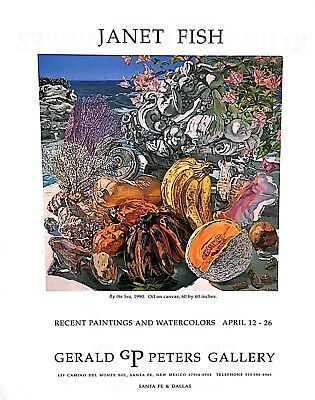 1991 JANET FISH By the Sea Watercolors Art Exhibit Vintage Print Ad