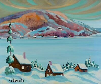 """Serge Cadorette 20x24"""" Oil Painting Winter Snowy Lake Landscape Canadian Listed"""