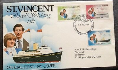 St Vincent 1981 Prince Charles & Princess Diana Royal Wedding  Fdc