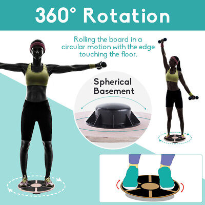 Professional Balance Board Wooden Fitness Wobble Yoga Support Max 250KG Trainers