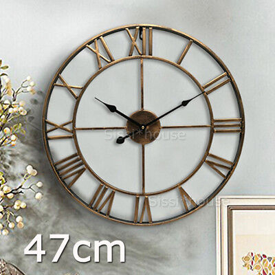Large Wall Clock Metal Industrial Iron Vintage French Provincial Antique GIFT AU