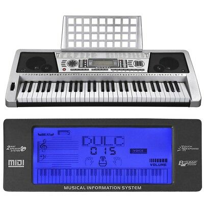 61 Keys Electronic Piano Key Board w/ LCD Display Screen Music Portable Silver