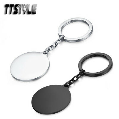TTstyle Polished Stainless Steel Round Tag Keyrings Silver/Black NEW