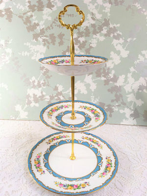 Crown Staffordshire Blue Lyric Tunis 3 Tier Cake Stand B