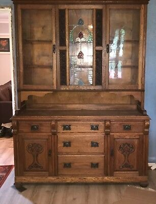 antique oak Welsh dresser cupboard stained glass 7ft tall by 5ft wide 5 drawers