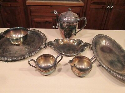 6 Pieces of Silverplate, Needs Cleaning, Various Manufacturers