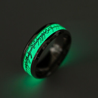 8mm Lord of the Rings Luminous Ring  Gold Silver Jewelry Stainless Steel Ring