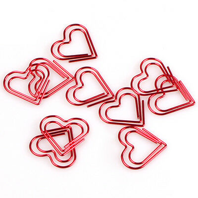 24pcs Heart Shaped Clamps Red Heart Metal Paper Clips Bookmark Art Projects Kit