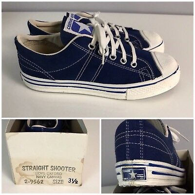 Vintage NOS 70s Converse Blue Label Straight Shooters Basketball Shoes Boys 3.5