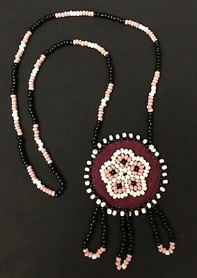 Hand Beaded Alaska Native Indian Necklace, Pink Black Red & White BEAUTIFUL!