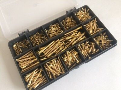 Solid Brass Slotted Countersunk Wood Screws Kit Of 380 Assorted Woodscrews