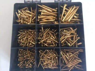 ASSORTED KIT 360 Pcs Popular Sizes SOLID BRASS SLOTTED COUNTERSUNK WOOD SCREWS