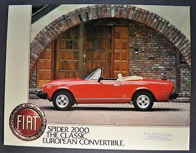 1980 Fiat Spider 2000 Sales Brochure Sheet Excellent Original 80