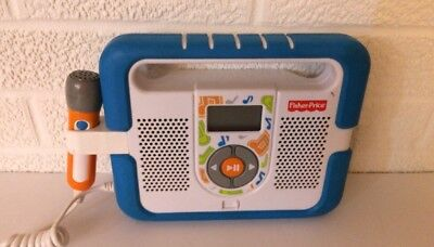 Fisher Price Kid Tough MP3 Music Player Microphone Karaoke Blue Stereo WORKS!