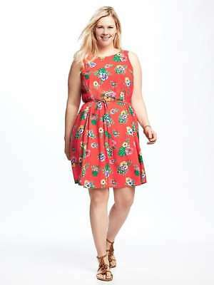 Nwt Old Navy Patterned Plus Size Tie Waist Dress 3x Sold Out