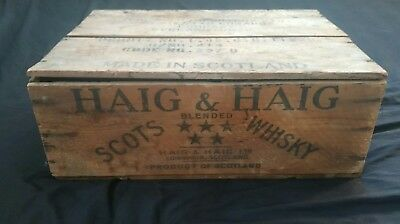 Vtg Haig & Haig Blended Scots Whisky Wooden Liquor Crate Scotch/Scotland w/ Lid