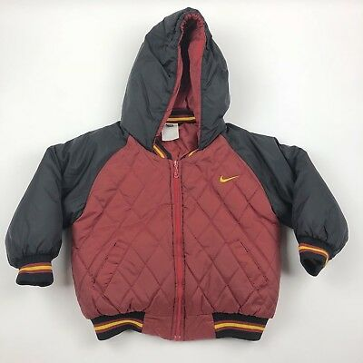 Vintage Nike Hooded Long Sleeve Heavy Quilted Coat Jacket Red Black Toddler 4T