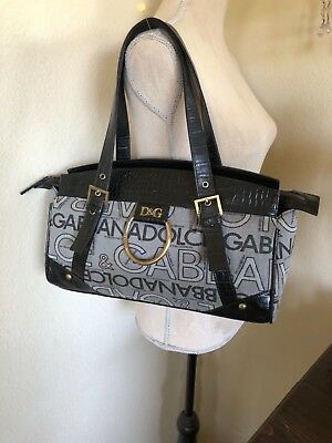 Vintage Dolce   Gabbana purse hand bag logo all over black  gray brass  hardware e385fc71a7