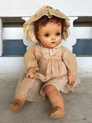 Madame Alexander Baby Doll Cloth Body Composite Head Linen Dress 22""