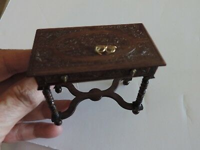 """ANTIQUITY-CARVED ARTIST TABLE  3"""" x 1 3/4"""" WITH DRAWER IN DARK WOOD-ARTIST MADE"""
