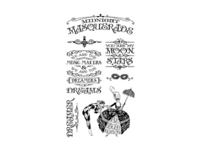 Graphic 45 Midnight Masquerade Collection Cling Stamps Sets