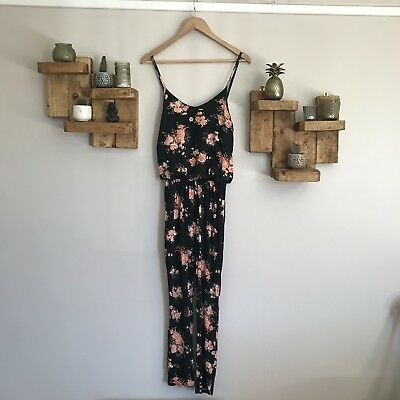 9ef3909c7c Cameo Rose   New Look Black Floral Jumpsuit Small Summer holiday vtg indie