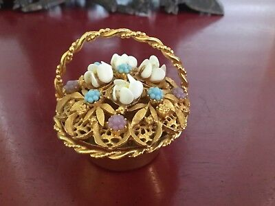 Vintage Florenza Trinket Box Basket W/flowers Gold Tone