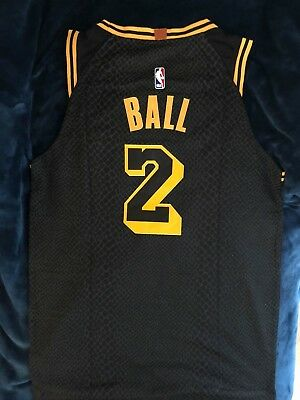 pretty nice ffa68 68dfb #2 LONZO BALL City Edition Mamba Los Angeles Lakers Black Mens Sewn Jersey