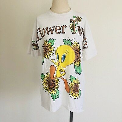 Vintage 1995 XL Looney Tunes Tweety Bird Sunflower Print Tshirt USA Hip Hop