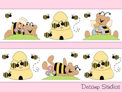 Bumble Bee Teddy Bear Nursery Baby Girl Floral Wallpaper Border Wall Art Decals