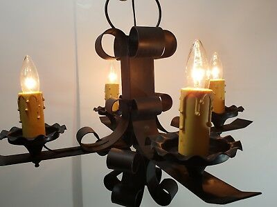 Vintage wrought iron Spanish Spain Gothic Chandelier ceiling light black castle
